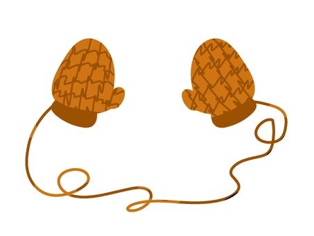 帶繩手套(棕色)