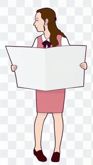 Reading newspaper OL