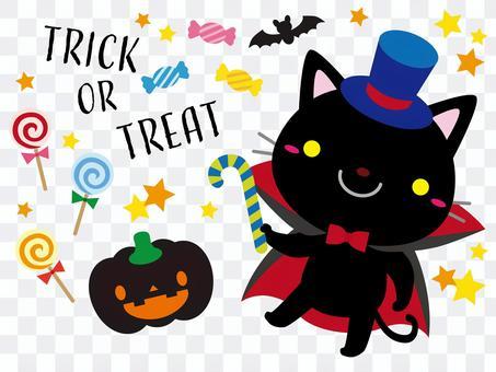 ハロウィンイラスト04【黒猫】