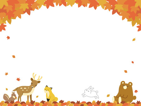 Autumn leaves and animals frame