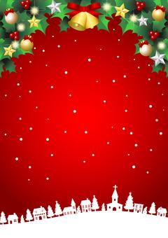 聖誕白雪皚皚的城市景觀紅色背景垂直