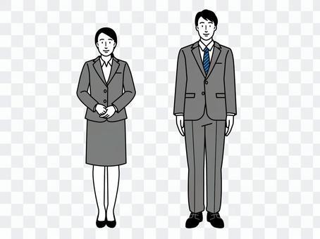 就活リクルートスーツの男女