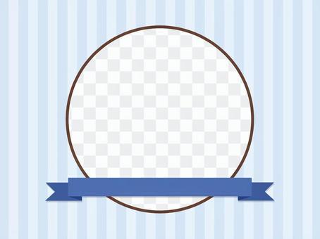 藍絲帶的圓形框架
