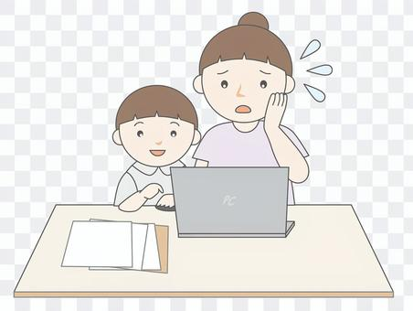 パソコン困る親子