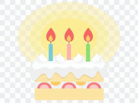 生日蛋糕(3蠟燭/燈)
