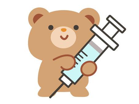 帶疫苗注射器的熊