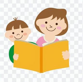 母親和孩子讀一本書