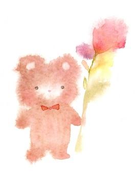 泰迪熊與花透明水彩流血手繪