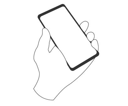 手拿著智能手機