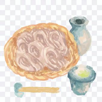 Zaru蕎麥麵水彩風格插圖