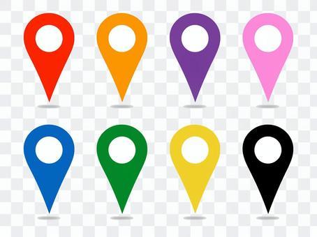 地圖別針與白色圓圈陰影的地圖