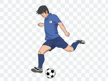 ボールを蹴る日本代表選手