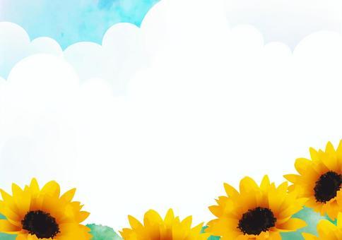 夏日的天空和向日葵框架2