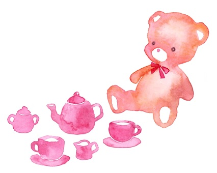 茶黨泰迪熊茶具透明水彩
