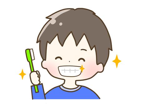 Boy brushing his teeth shiny