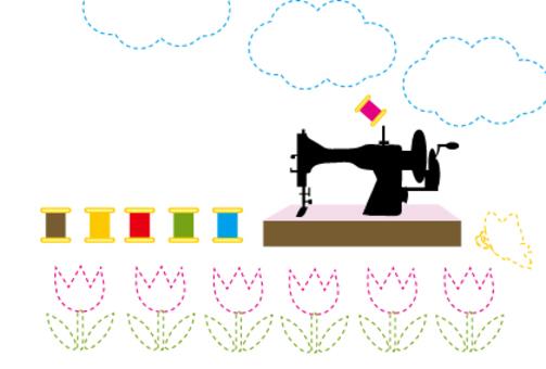 郁金香POP和缝纫机的手工制作工作室