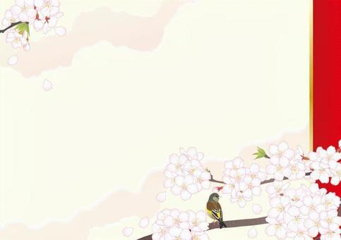 日式框架_櫻花小鳥嗨_紅色