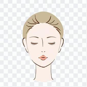 一個閉著眼睛的女人的臉