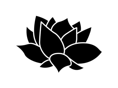 Lotus flower silhouette, black yoga background