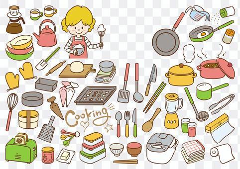 キッチンアイテムイラストセット