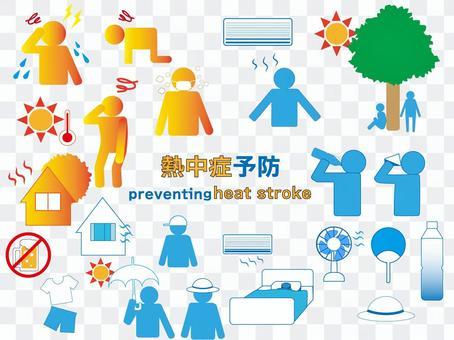 中暑預防圖標
