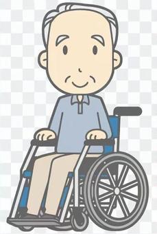 輪椅老男人 - 微笑 - 全身