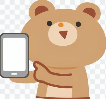 熊指著智能手機
