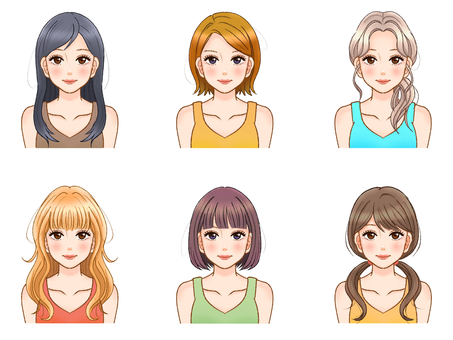 Adult female hairstyle illustration material set 3