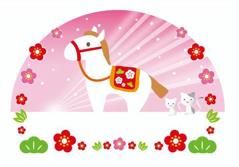 新年賀卡馬粉紅色