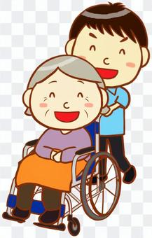 照顧者和輪椅