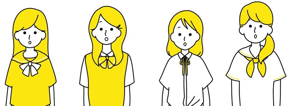 女高中生京都整潔的設計黃色