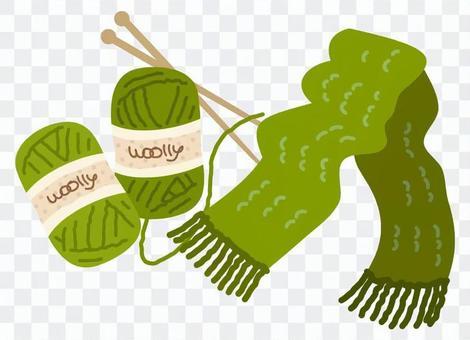 紗線消聲器和毛紗(綠色