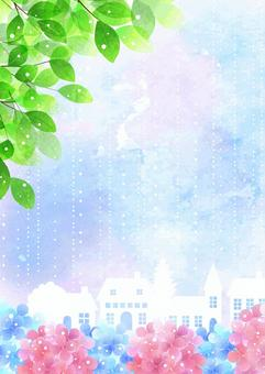 Watercolor-style rainy season, hydrangea and cityscape Vertical