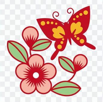 中国花朵和蝴蝶