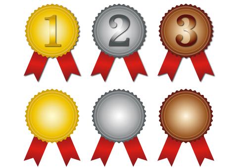 排名・第一,第二,第三・紅絲帶