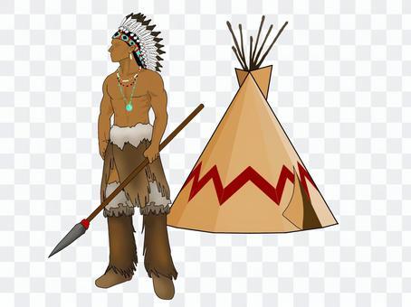 美國原住民的勇士和蒂皮斯