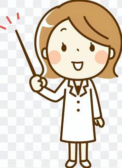 一個藥劑師的女人用棍子