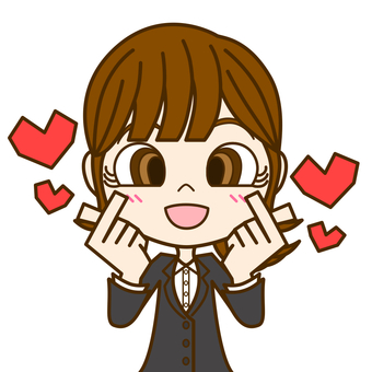 Woman with double finger heart ② / suit