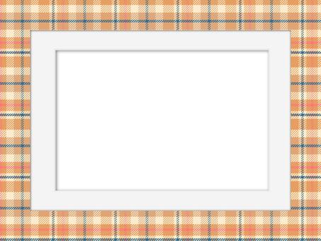格紋和白色磨砂相框2