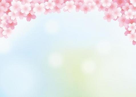 桜、背景、A4横、塗足付