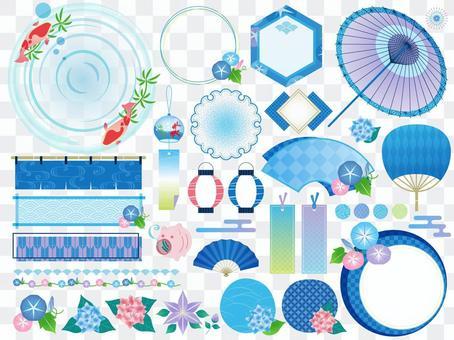 Japanese style / summer / rainy season / Japanese pattern frame set