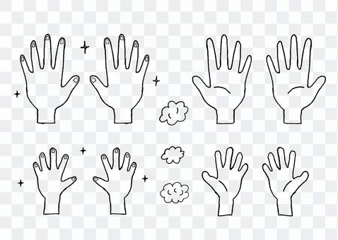 Hand drawn line art / monochrome / hand