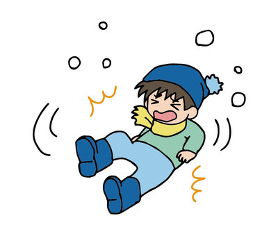 A child who falls on a snowy road