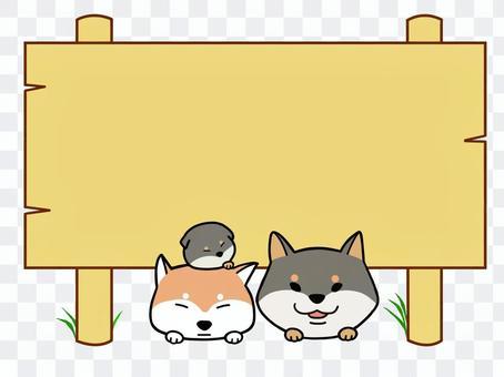 柴犬と立て看板
