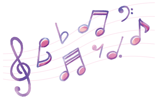Watercolor musical note set