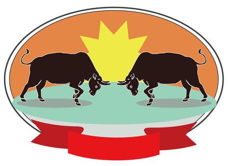 Bullfighting emblem, fighting bull