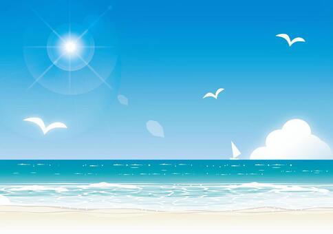 仲夏海太陽和水平線3