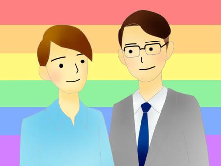 LGBT、男性情侶(上半身)
