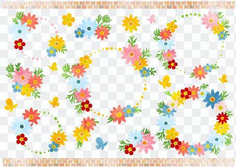 水彩風格七彩花朵圓框架