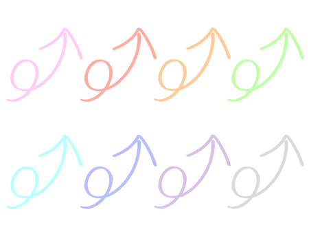 Colorful set of arrows that go up